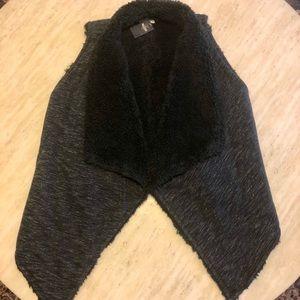 New HOLLISTER Cotton/Fur Vest in Black Size XS/S